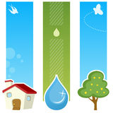 Spring Vertical Banners. A collection of three springtime vertical banners with a country house, a water drop and a tree on green and blue background. Eps file Stock Photography