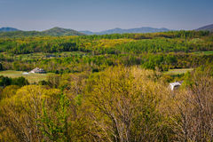 Spring view of the Appalachian Mountains from an overlook on I-64 near Waynesboro, Virginia. stock images