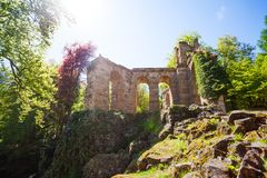 Spring view of aqueduct ruins in Bergpark Royalty Free Stock Images