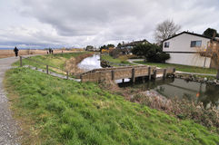 Spring view behind a dyke Stock Image