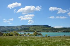 Spring view of the blue lake Yesa Stock Photo