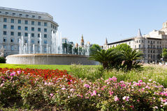 Spring view of Catalonia Square Stock Images