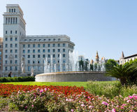 Spring view of Catalonia Square. Barcelona stock photography