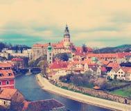 Spring view of Cesky Krumlov. Czech republic Stock Photos
