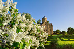 Spring view of church of Peter and Paul at Slavna in Veliky Novgorod, Russia. Selective focus at the church Stock Photos