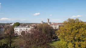 View of Canterbury, Kent, UK with cathedral in distance stock photo