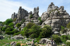 Spring view of El Torcal nature reserve Royalty Free Stock Photos