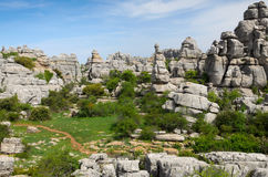 Spring view of El Torcal nature reserve Royalty Free Stock Photo