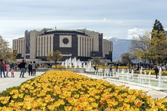 Spring view of flower garden in front of National Palace of Culture, Bulgaria. SOFIA, BULGARIA -APRIL 21, 2019: Spring view of flower garden in front of National royalty free stock photography