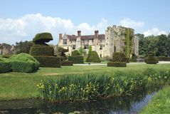 Spring view of a garden at a riverside. Hever castle, England Stock Image