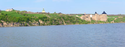 Spring view of Khotyn Fortress (Ukraine) Royalty Free Stock Photo
