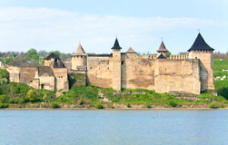 Spring view of Khotyn Fortress (Ukraine) stock image