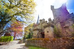 Spring view Lowenburg castle in Bergpark Kassel Royalty Free Stock Images
