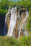 Spring View of Great Waterfall on Plitvice Lakes Stock Images