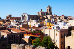 Spring view of  old Tarragona and gothic Cathedral Royalty Free Stock Images