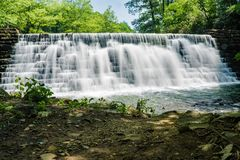 Spring View of Otter Lake Dam. Located on the Blue Ridge Parkway, Bedford County, Virginia, USA stock image