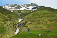 Spring view from the pass of Tourmalet in Pyrenees Royalty Free Stock Photography