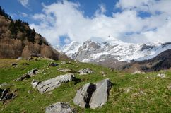 Spring view of the Pyrenees mountains Stock Photo