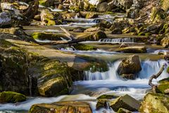 A Spring View of Rocky Stream. A springtime view of a rocky stream located in the mountains of the Jefferson National Forest, Virginia, USA Stock Images