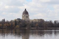 Spring view of Saskatchewan Legislature from Wascana Lake Royalty Free Stock Images