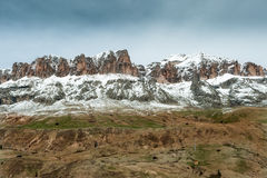 Spring view of the Sella group, next to the pass Pordoi Stock Photo