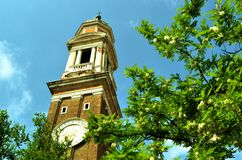 Spring view to one Venice church. Royalty Free Stock Image