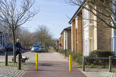 Spring view at Two Mile Ash area in Milton Keynes, England. MILTON KEYNES, ENGLAND - MARCH 03, 2015: Sunny view at streets and residential buildings of Two Mile Royalty Free Stock Photo