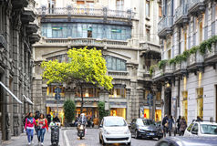 Spring view of Via dei Mille street in Naples, Italy Stock Image