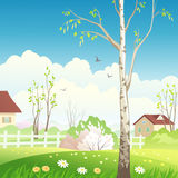 Spring village. Illustration of a spring landscape Stock Photography
