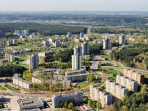 Spring in the Vilnius city - aerial photo Stock Photography
