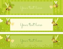 Spring vintage banners with bees. Cute banners in retro style with funny bees vector illustration