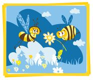 Spring vintage card with bees Royalty Free Stock Image