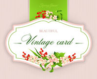 Spring  vintage elegant card with  flowers. Vector illustration Royalty Free Stock Photography