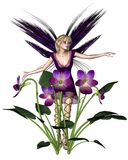 Spring Violet Fairy. Digital render of a fairy with spring violets Royalty Free Stock Photo