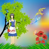 Spring walk and flowers. Spring composition with girl in folk costume Stock Images