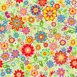 Spring wallpaper with colorful abstract funny flowers Stock Photo
