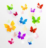 Spring wallpaper with painted butterflies Royalty Free Stock Images