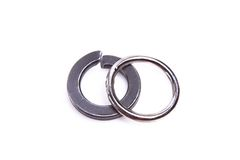 Spring washers. Spring lock washers on a white background Royalty Free Stock Photos