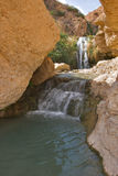 Spring water. A falls and the river in reserve on the Dead Sea in Israel Royalty Free Stock Photo