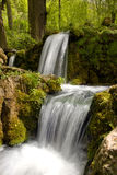 Spring water. Small waterfall with a clear drinking water Stock Photos