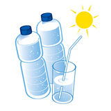 Spring Water plastic bottles Stock Image
