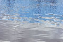 Spring water texture reflection of clouds and trees. Close-up Royalty Free Stock Photography