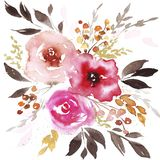 Spring watercolor abstract flowers royalty free illustration