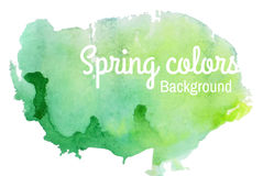 Spring watercolor background. Watercolor green background with white shirt Stock Image