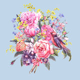 Spring Watercolor Floral Bouquet with Bird Royalty Free Stock Photos