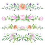 Spring Watercolor Floral Vignettes Stock Photography