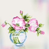 Spring watercolor flowers in vase. Stock Photos