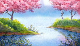 Spring watercolor landscape. Flowering trees over lake. Colorful handmade bright romantic watercolour on paper backdrop card with space for text. Prime elegant Royalty Free Stock Photos
