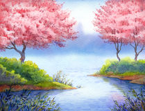 Spring watercolor landscape. Flowering trees over lake Royalty Free Stock Photo