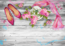 Spring Watercolor Top View stock illustration
